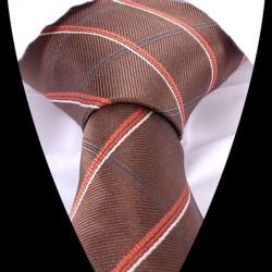 Hedvábná kravata hnědá LD0565