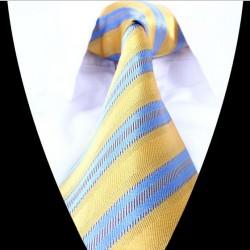 Hedvábná kravata žlutá modrá LD0687