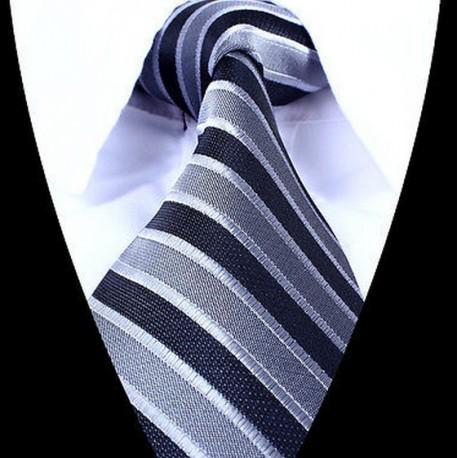Hedvábná kravata šedá modrá LD0691