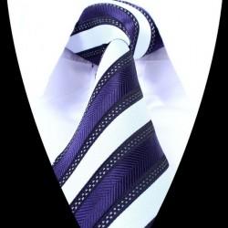 Hedvábná kravata modrá bílá LD0692