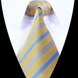 Hedvábná kravata žlutá modrá LD0695