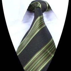 Hedvábná kravata černá zelená LD0700
