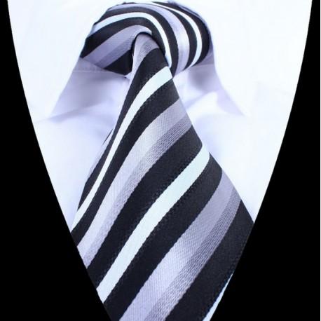 Hedvábná kravata šedá modrá LD0703