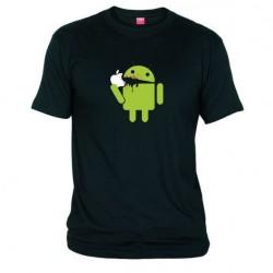 Pánské tričko Android eating Apple černé