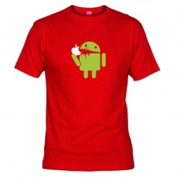 Pánské tričko Android eating Apple červené