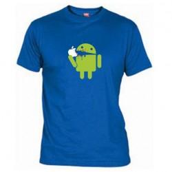 Pánské tričko Android eating Apple modré