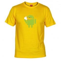 Pánské tričko Android eating Apple žluté