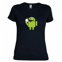 Dámské tričko Android eating Apple černé