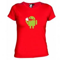 Dámské tričko Android eating Apple červené