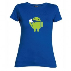 Dámské tričko Android eating Apple modré