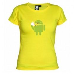 Dámské tričko Android eating Apple žluté