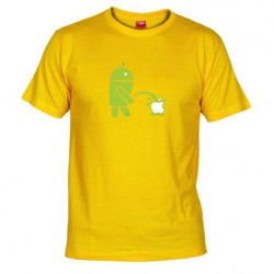 Pánské tričko Android vs Apple žluté