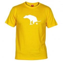Pánské tričko Apple is dog shit žluté