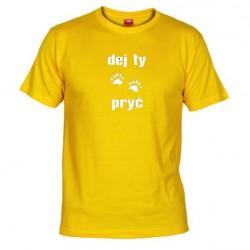 Pánské tričko Dej ty pracky pryč žluté
