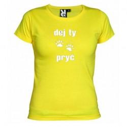Dámské tričko Dej ty pracky pryč žluté