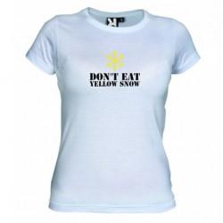D8mské tričko Don´t eat yellow snow bílé