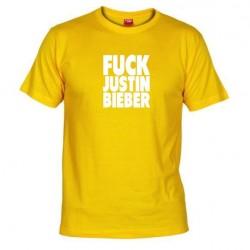 Pánské tričko Fuck Justin Bieber žluté