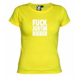 Dámské tričko Fuck Justin Bieber žluté