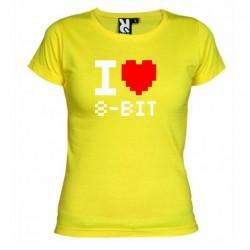 Dámské tričko I love 8-BIT žluté