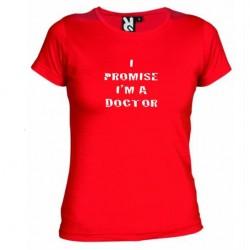 Dámské tričko I promise i m a doctor červené