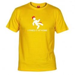 Pánské tričko I tried it at home žluté