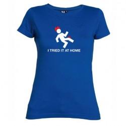 Dámské tričko I tried it at home modré