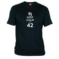Pánské tričko Keep calm and 42 černé