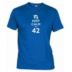 Pánské tričko Keep calm and 42 modré