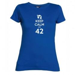 Dámské tričko Keep calm and 42 modré