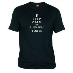 Pánské tričko Keep calm and a jedi will you be černé