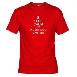 Pánské tričko Keep calm and a jedi will you be červené