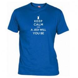 Pánské tričko Keep calm and a jedi will you be modré