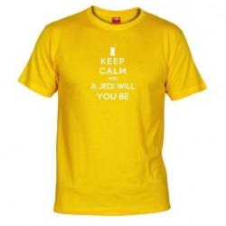 Pánské tričko Keep calm and a jedi will you be žluté