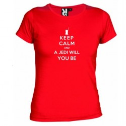 Dámské tričko Keep calm and a jedi will you be červené