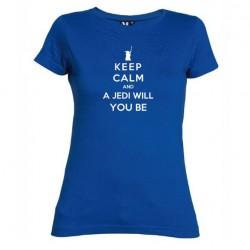 Dámské tričko Keep calm and a jedi will you be modré