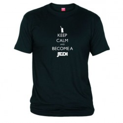 Pánské tričko Keep calm and become a Jedi černé