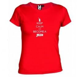 Dámské tričko Keep calm and become a Jedi červené