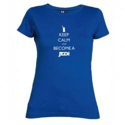 Dámské tričko Keep calm and become a Jedi modré
