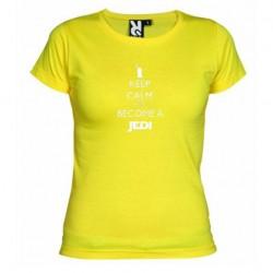Dámské tričko Keep calm and become a Jedi žluté