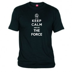 Pánské tričko Keep calm and use the force černé