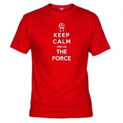 Pánské tričko Keep calm and use the force červené