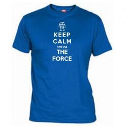 Pánské tričko Keep calm and use the force modré