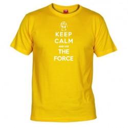 Pánské tričko Keep calm and use the force žluté