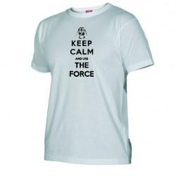 Pánské tričko Keep calm and use the force bílé