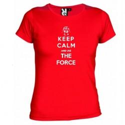 Dámské tričko Keep calm and use the force červené