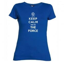 Dámské tričko Keep calm and use the force modré