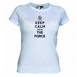 Dámské tričko Keep calm and use the force bílé