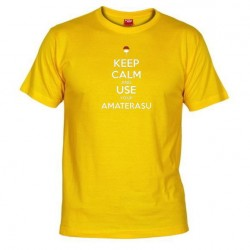 Pánské tričko Keep calm and use your amaterasu žluté