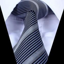 Hedvábná kravata pruhovaná šedá LD0752