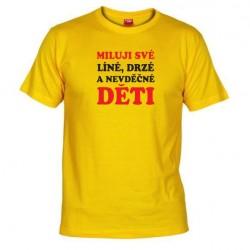 Pánské tričko Miluji své děti žluté